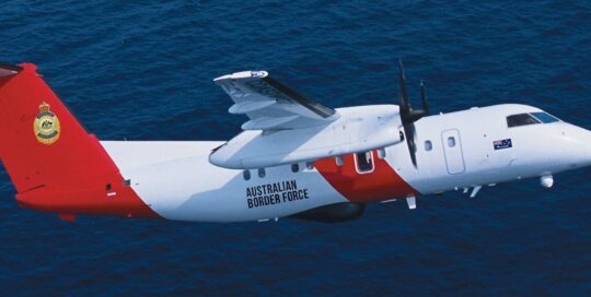 Sentinel Coastwatch Border Force aircraft flying over the sea