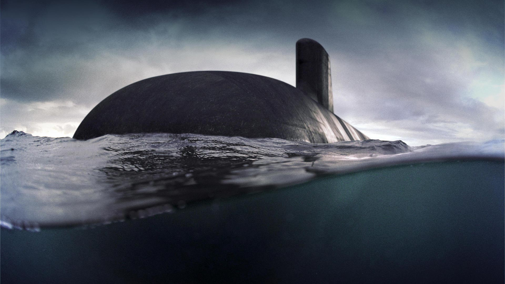 Submarine at sea viewed from water level