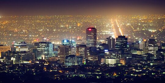 a view of the Adelaide CBD at night