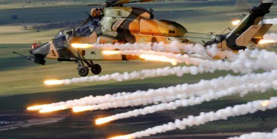 ADF helicopter deploying flares over Port Wakefield proof and experimental area