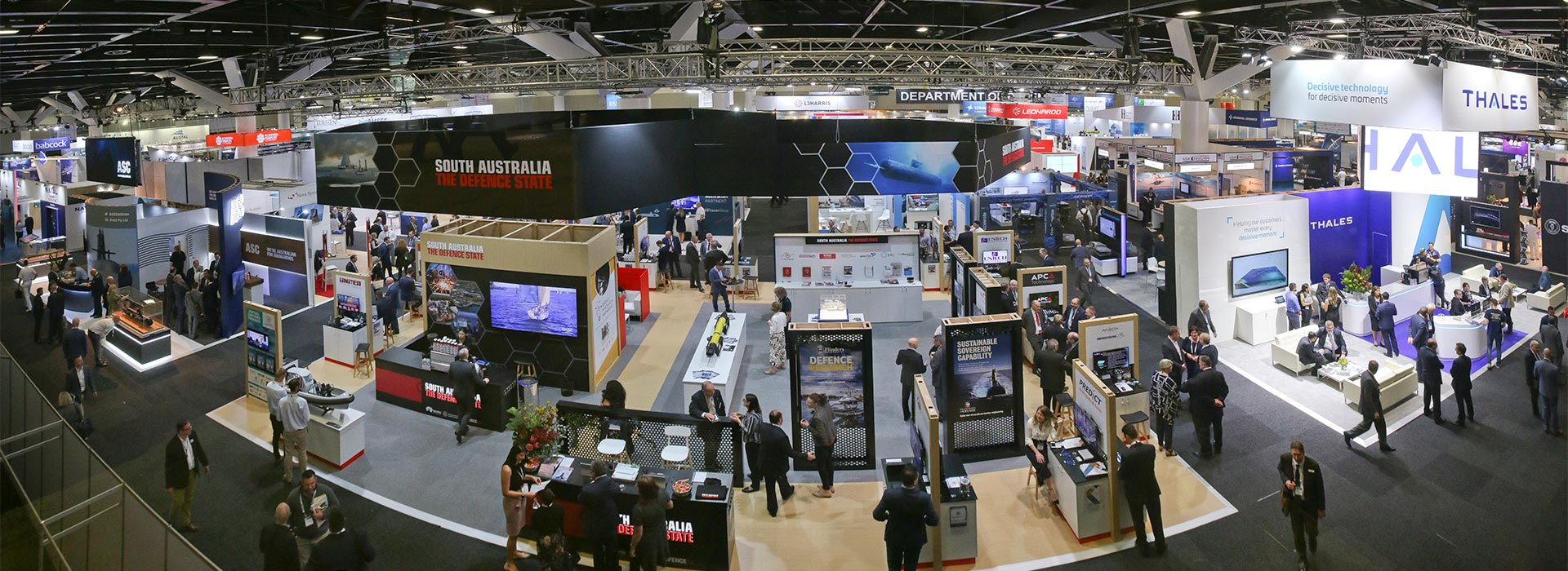 Panoramic view of the Defence SA stand at a trade show